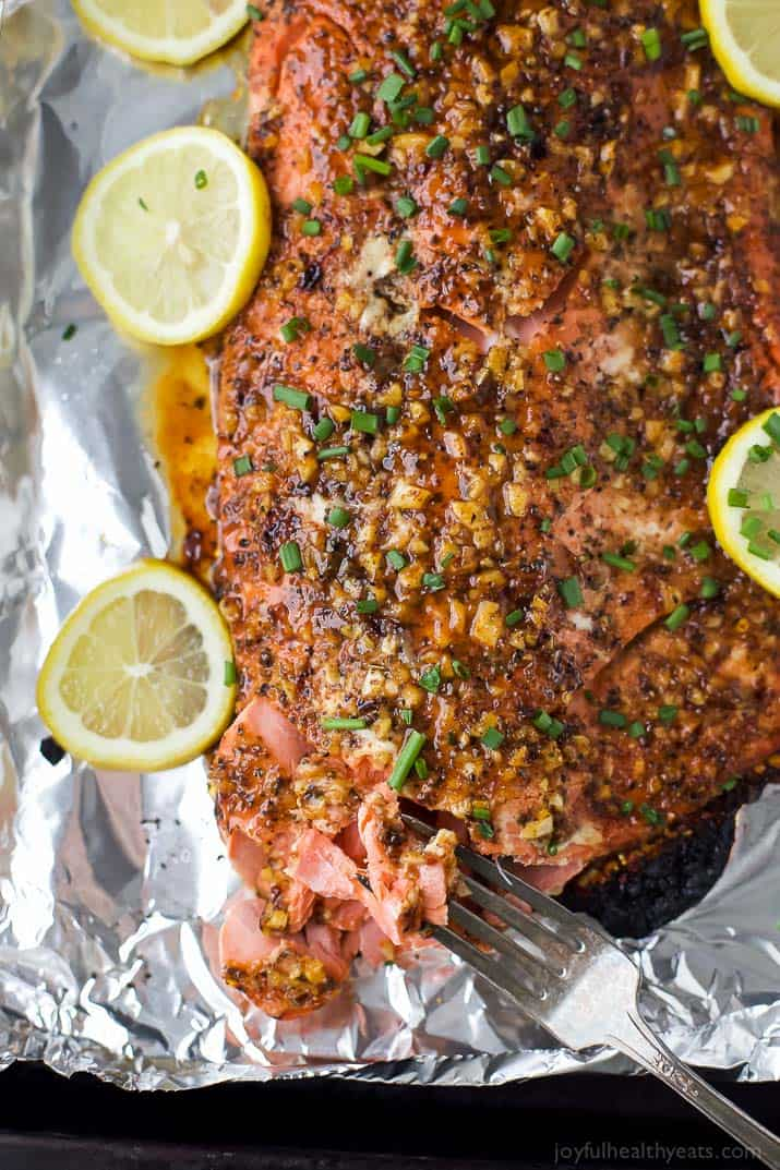 Image of a Honey Mustard Baked Salmon with Lemons