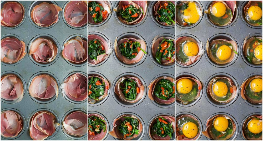 process photos of how to make PROSCIUTTO BAKED EGG CUPS