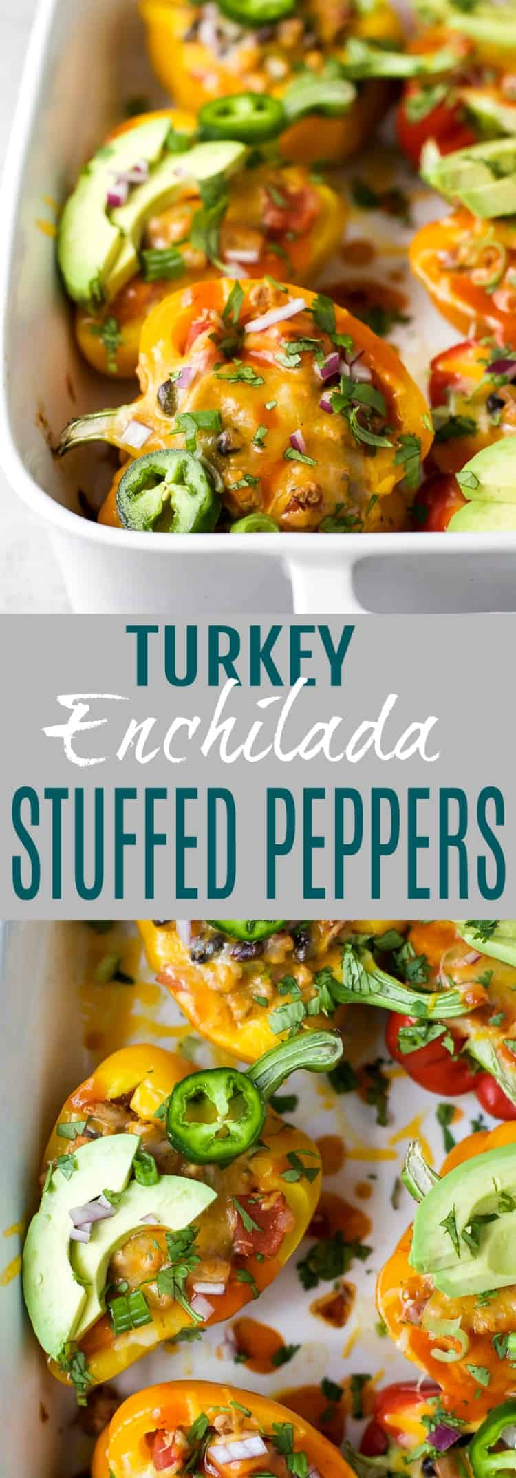 Cheesy Turkey Enchilada Stuffed Peppers filled with tex-mex flavor and covered in melty cheese. These gluten free Stuffed Peppers make an absolutely delicious healthy weeknight dinner for the family.
