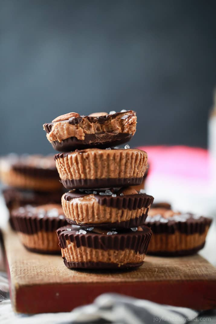 These 5 ingredient Vegan Almond Butter Cups are easy to make and a delicious healthy version of the popular candy! Creamy almond butter smooshed in between two layers of dark chocolate, can't get any better than that!