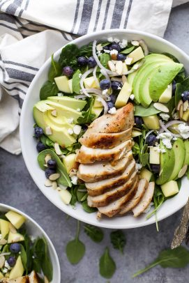 Avocado Mango Chicken Salad in a white bowl