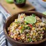 Charred Corn Red Pepper Farro Salad