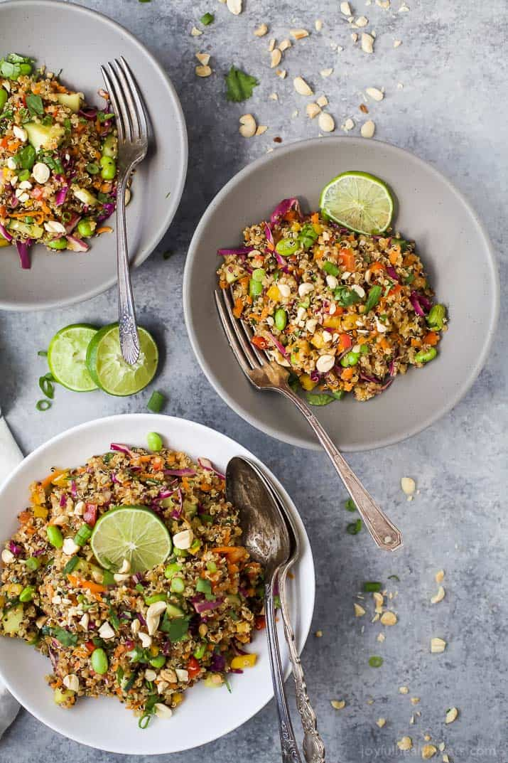 This Gluten Free Crunchy Thai Quinoa Salad is loaded with veggies then tossed with a Light Sesame Dressing. It's high in protein, fiber and flavor and guaranteed to become a favorite around your house! The perfect side to bring to that next party!