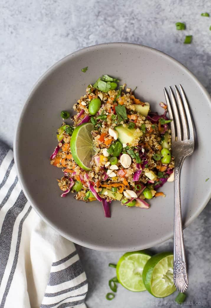 Top view of Crunchy Thai Quinoa Salad in a bowl