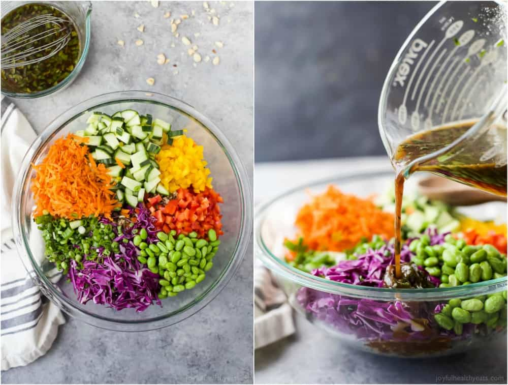 Colorful vegetable ingredients for Crunchy Thai Quinoa Salad in a mixing bowl