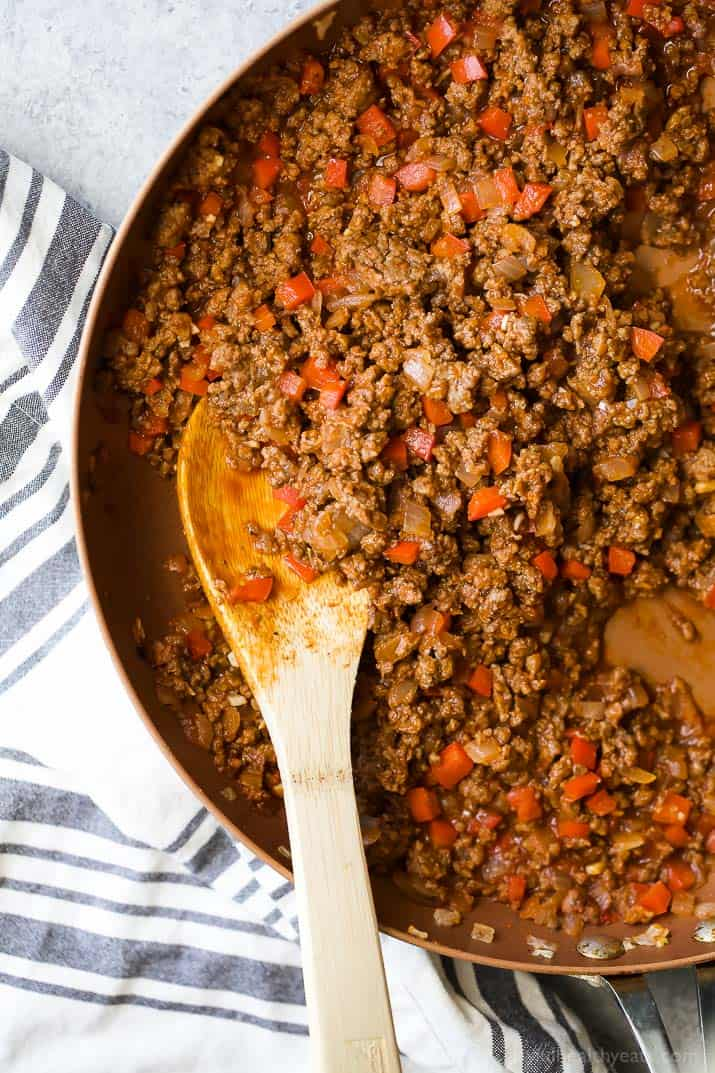 Ground meat mixture in a skillet for Deconstructed Stuffed Pepper Bowl