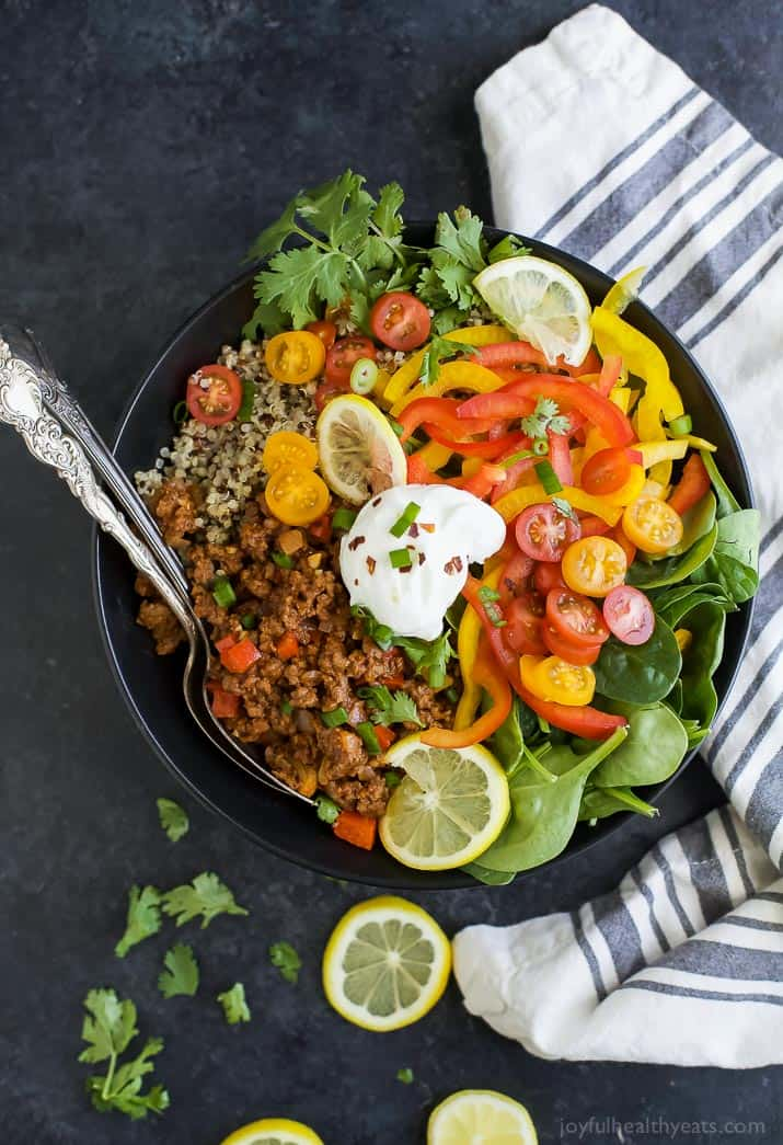 Deconstructed Stuffed Bell Pepper Bowl a delicious family style gluten free recipe the family will love! Easy to make, high in nutrients, delicious and perfectly satisfying.
