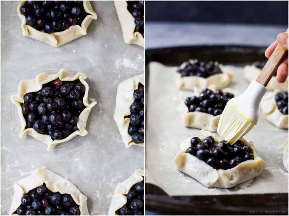 Collage of unbaked Fresh Mini Blueberry Galettes on a baking sheet