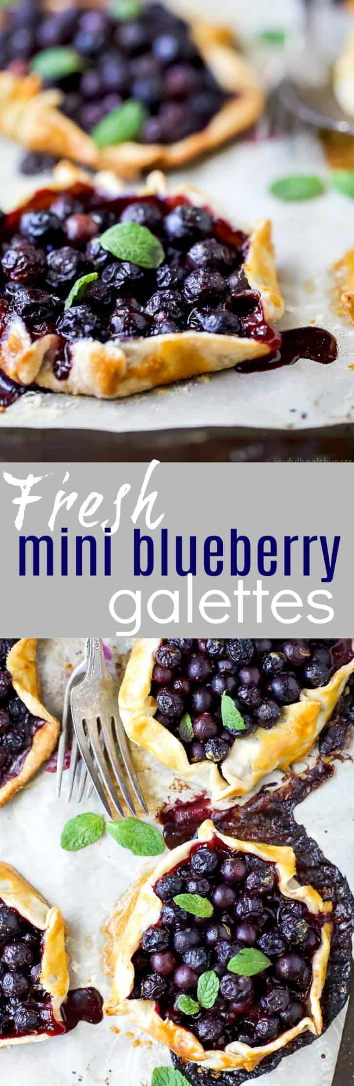 Fresh Mini Blueberry Galettes - a quick dessert perfect for a light sweet treat! Crispy flaky pie dough stuffed with bursting blueberries and topped with vanilla creme fraiche. These galettes are sure to please a crowd!