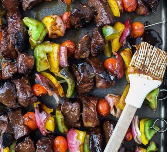 Grilled Balsamic Beef Kabobs an easy flavorful dinner recipe perfect for grilling season! These Beef Kabobs are loaded with flavorful steak and veggies then glazed with a sweet balsamic marinade! #ad #grillingrecipes #glutenfree