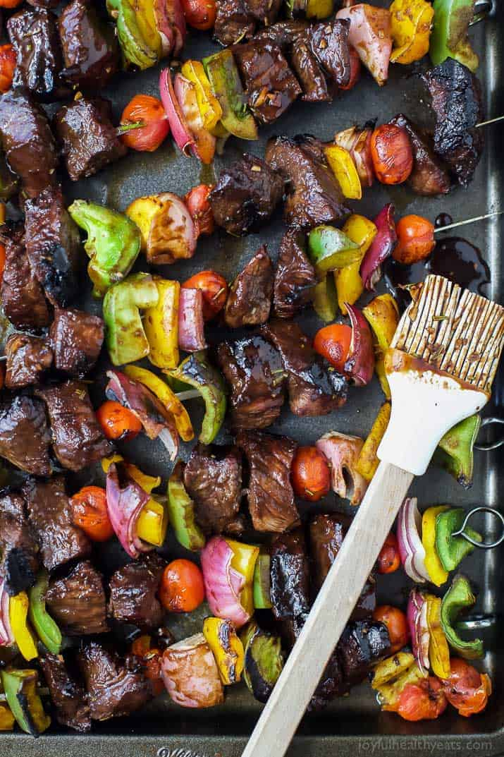 Top view of Grilled Balsamic Steak Kabobs
