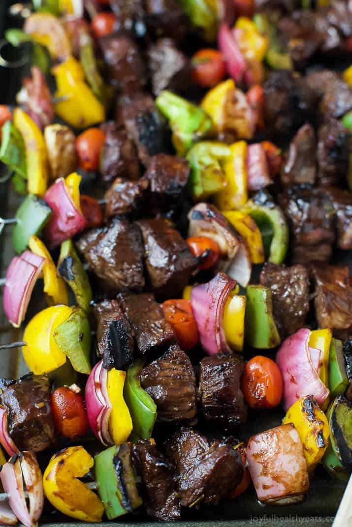 Close-up view of Steak Kabobs on skewers