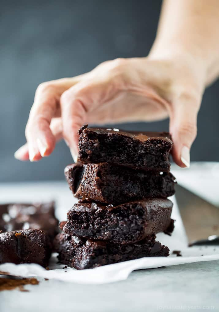 A stack of almond butter fudgy brownies