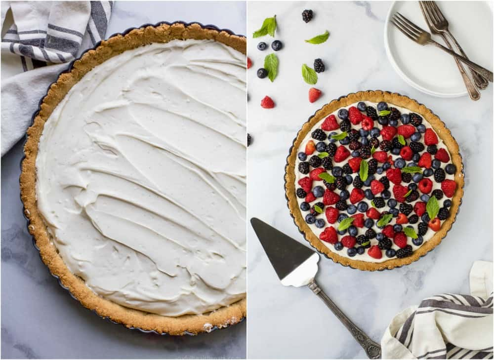 Images of a tart filled with a creamy greek yogurt cheesecake filling and an Almond Crust and a tart topped with fresh berries