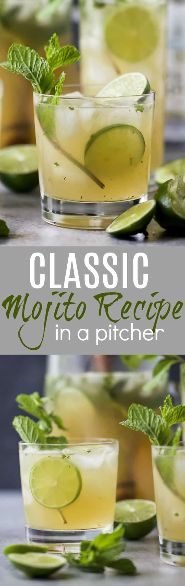 This Classic Mojito Recipe  made in a pitcher will be the hit of the party! It's easy, light and super refreshing for the summer!