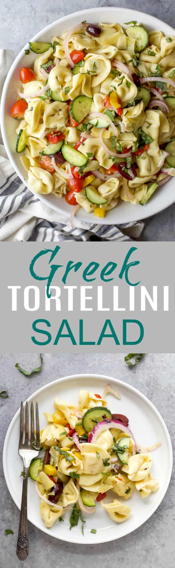 Easy 30 Minute Greek Tortellini Salad tossed with mediterraneanveggies and a homemade greek vinaigrette for a lighter healthier taste. This Tortellini Pasta Salad is guaranteed to be the star at your summer BBQ's.