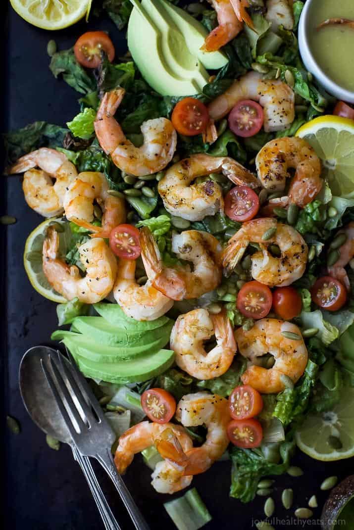 Top view of Grilled Shrimp Caesar Salad