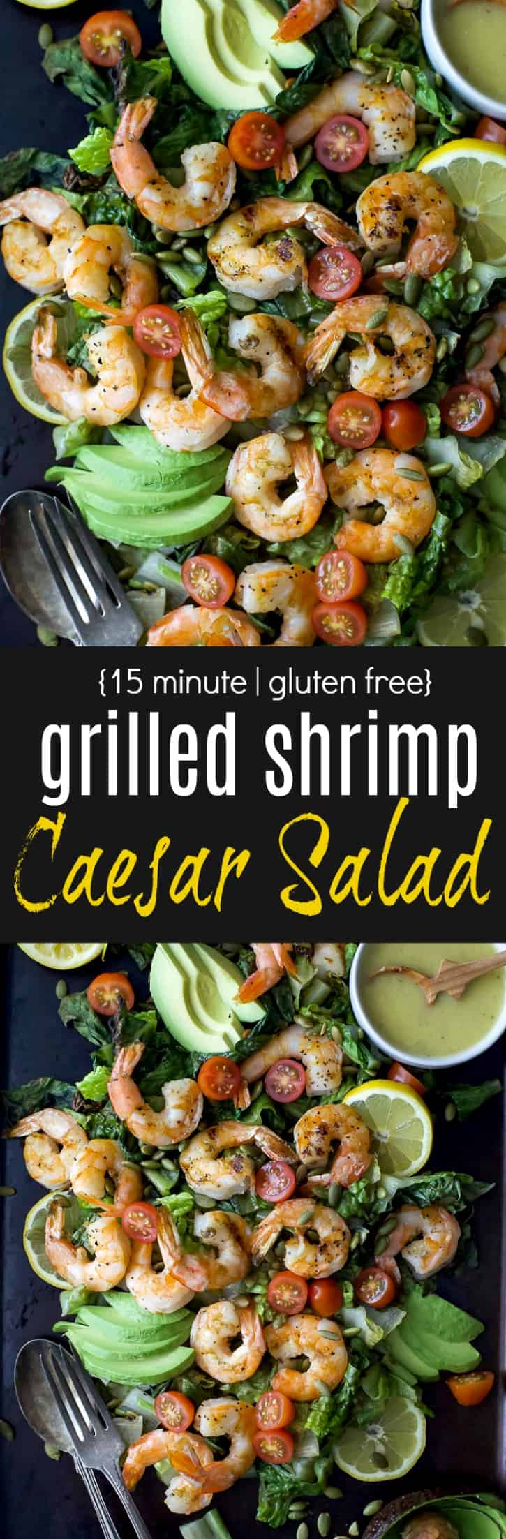 Recipe collage for 15 minute Grilled Shrimp Caesar Salad