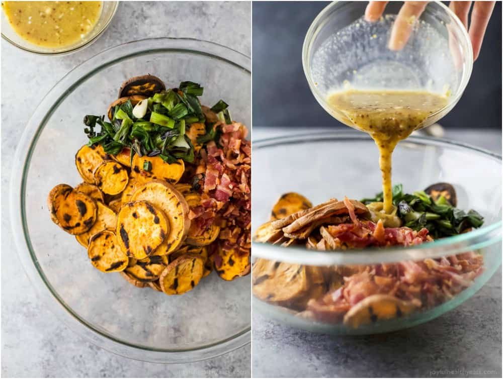 Collage of GRILLED SWEET POTATO SALAD ingredients in a mixing bowl with honey mustard dressing being added