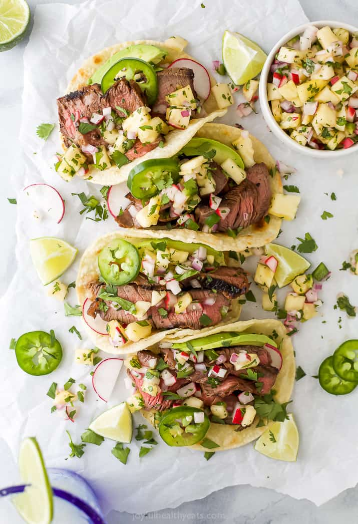 four steak tacos with pineapple salsa
