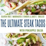 pinterest collage for steak tacos with pineapple salsa