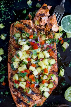 chili lime grilled salmon with pineapple salsa