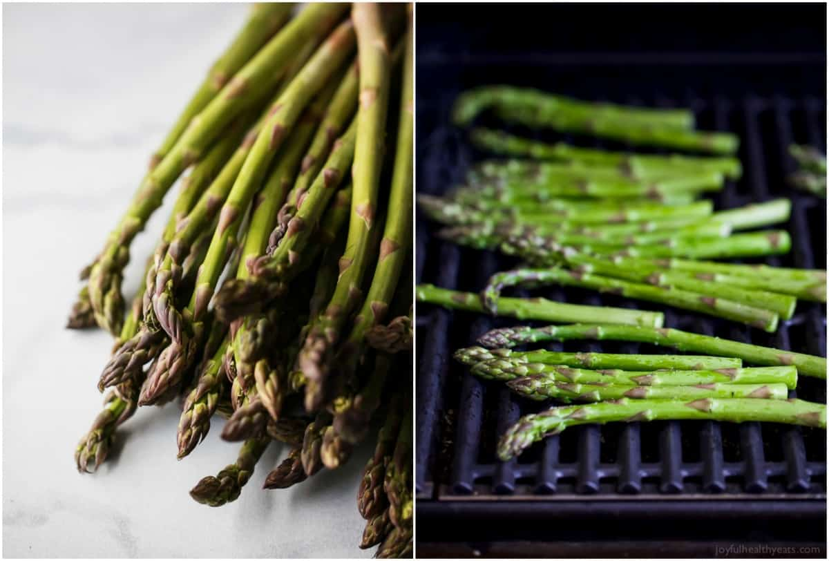 Asparagus before and during grilling process
