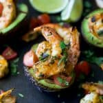Grilled Cilantro Lime Shrimp in Avocado Boat