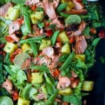 Grilled Honey Sriracha Salmon Salad a vibrant summer salad that's less than for 400 calories with a whopping 34 grams of protein per serving! This light fresh salad only takes 30 minutes to make but loaded with flavor!