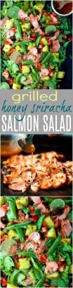 Grilled Honey Sriracha Salmon Salad a vibrant summer salad that's less than for 400 calories with a whopping 34 grams of protein per serving! This light fresh salad only takes 30 minutes to make but loaded with flavor! #paleo #glutenfree
