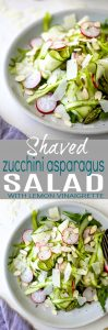 Shaved Zucchini Asparagus Salad loaded with raw greens, radishes, almonds & parmesan then tossed with a Lemon Vinaigrette. This light summer salad focuses on real ingredients and bringing out complex flavors!