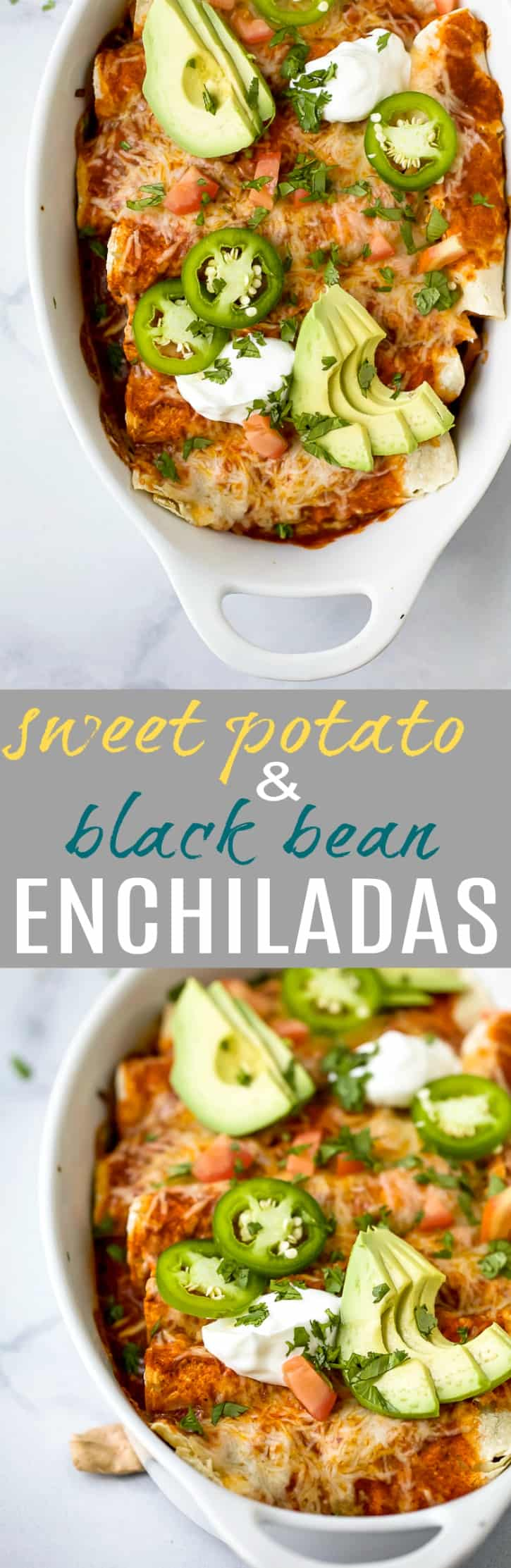 Gluten Free Sweet Potato Black Bean Enchiladas covered in a smoky red chili sauce and gooey cheese. Simple ingredients and lots of flavor make these black bean enchiladas a must try dinner recipe!