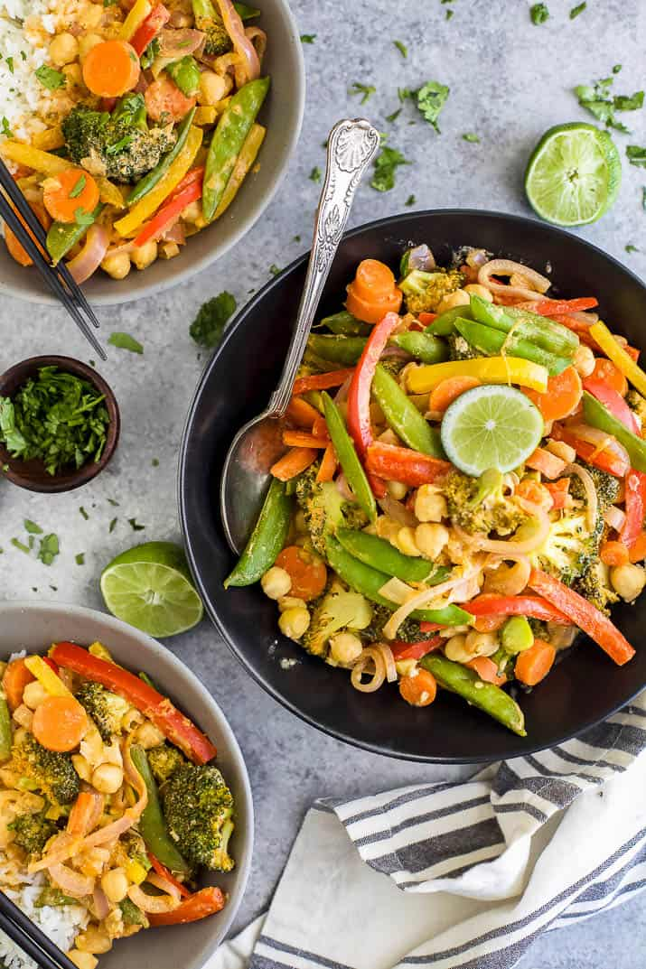 Simple Thai Vegetable Curry, a flavorful 30 minute meal loaded with veggies. It's vegan and gluten free! If you like Thai food you're gonna love this Vegetable Curry - skip the take out and make a healthier version!