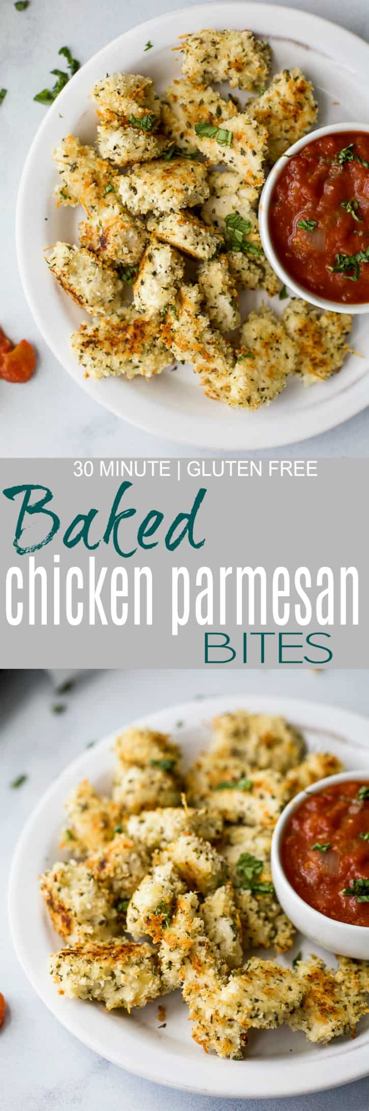 These fun Gluten Free Baked Chicken Parmesan Bites served with a homemade marinara sauce make the perfect kids school lunch, game day appetizer or quick dinner recipe! Easy, light and full of flavor - these chicken bites are a must make! #ad