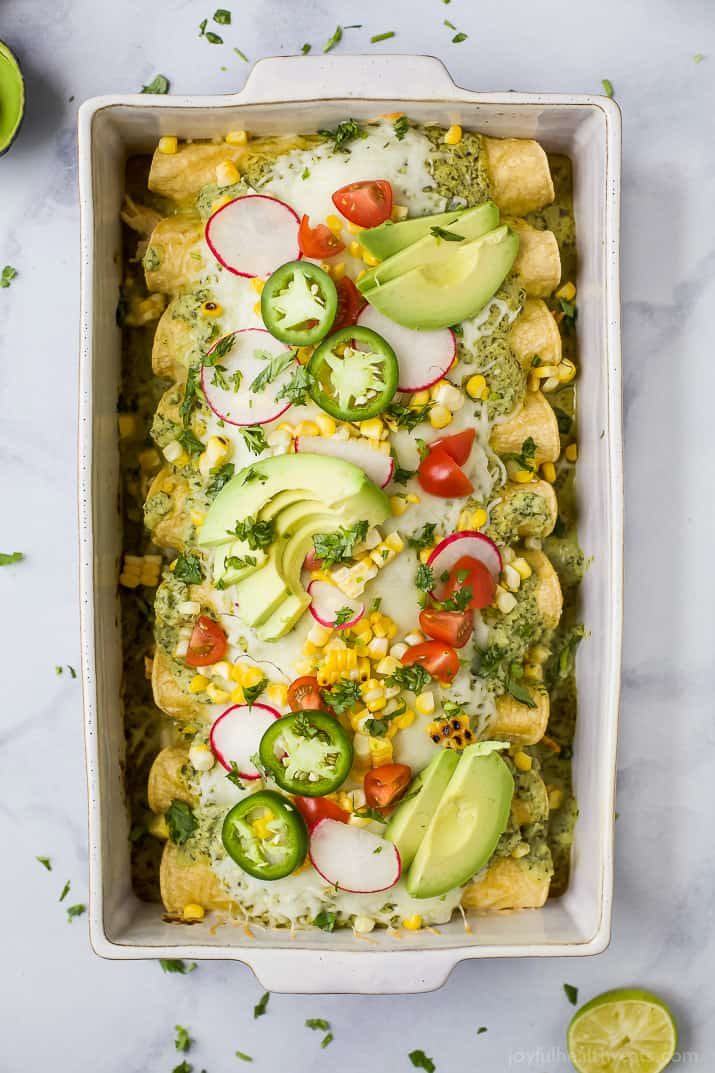 These Chicken Enchiladas smothered in a Poblano Cream Sauce will quickly become a family favorite. If you're looking for a flavorful recipe these Chicken Enchiladas are it - they're the ultimate healthy Taco Tuesday meal!