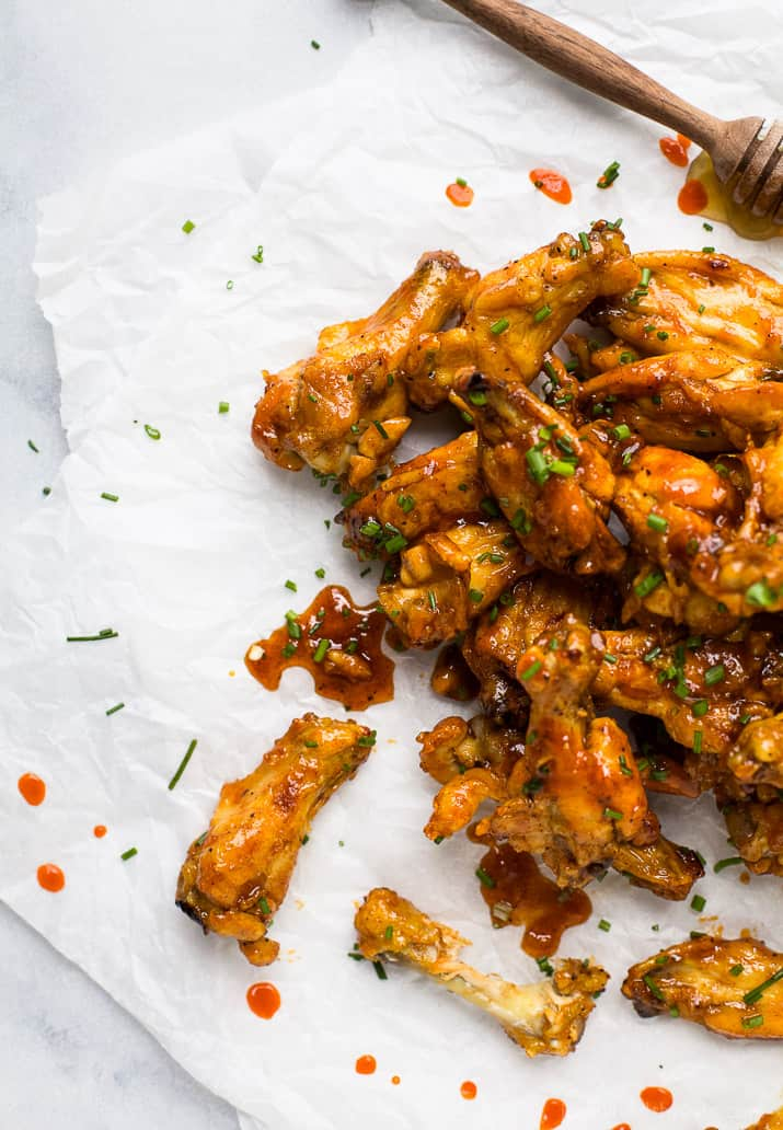 overhead photos of honey sriracha baked chicken wings