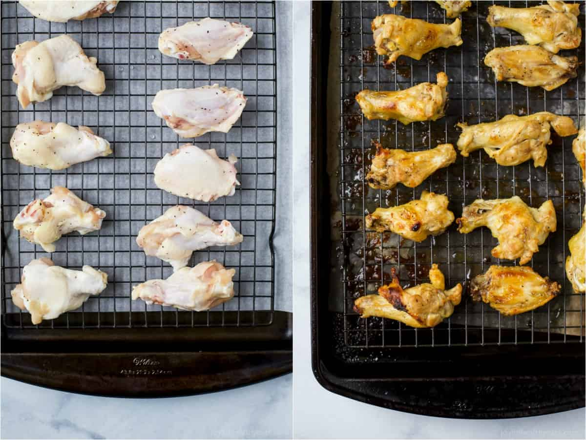 chicken wings on a baking sheet
