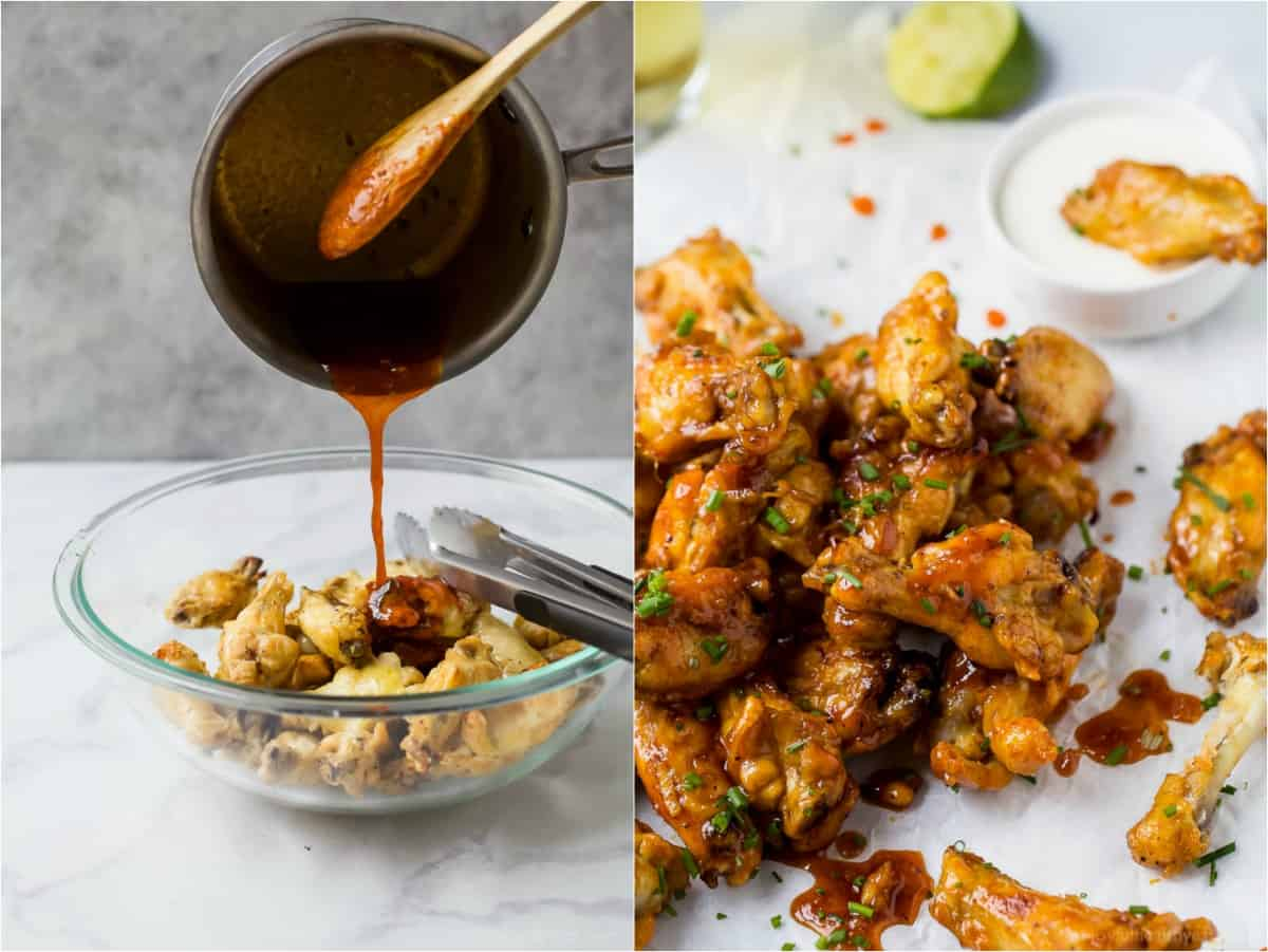process photos of how to make honey sriracha baked chicken wings