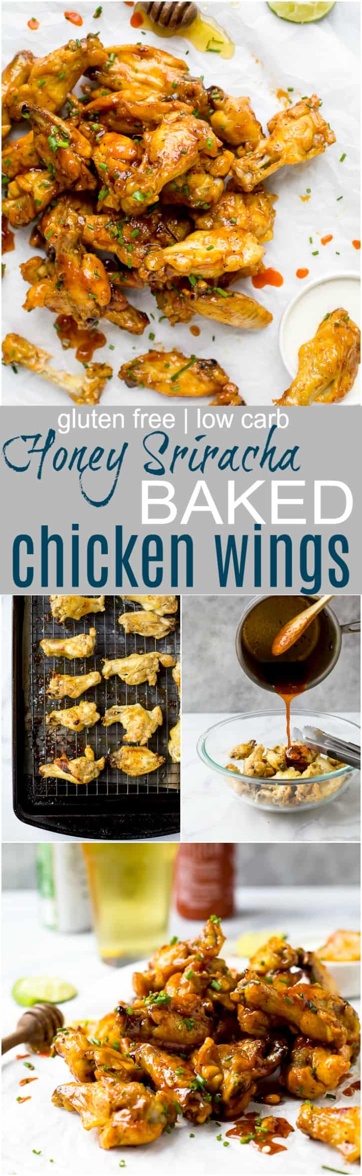 pinterest image for honey sriracha baked chicken wings