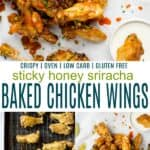 pinterst image for honey sriracha baked chicken wings