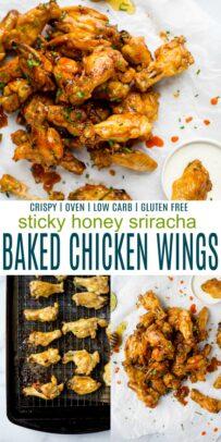 pinterst image for honey sriracha baked chicken wings