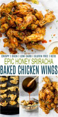 pinterest image for honey sriracha baked chicken wings