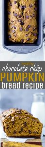 The BEST healthy Chocolate Chip Pumpkin Bread - a healthy version of the famous Starbucks Pumpkin Bread. The bread is moist, refined sugar free and 100% addicting. Perfect for the fall!