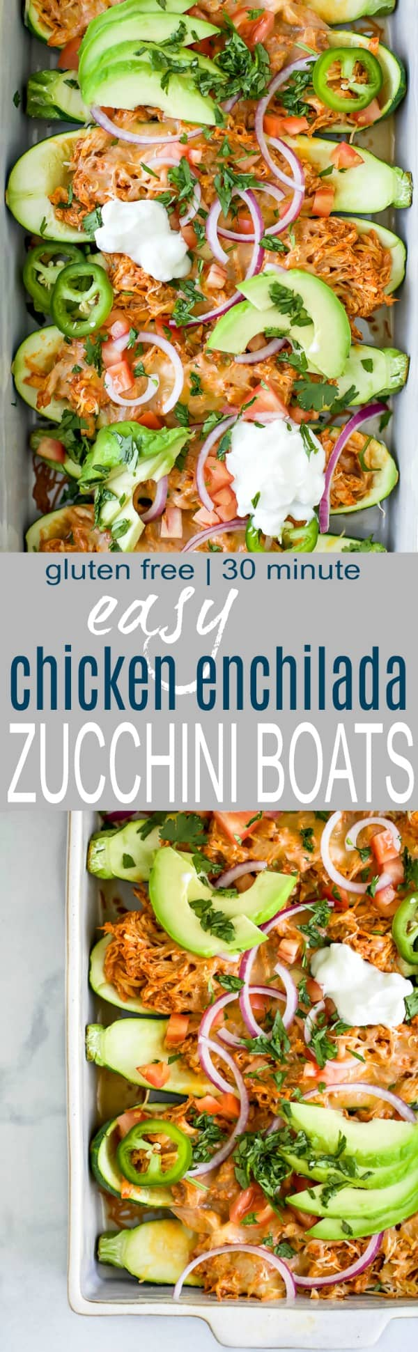 Easy Chicken Enchilada Zucchini Boats with red chili sauce and melted cheese.  A 30 minute meal that's gluten free, low carb, high protein and perfect for a weeknight dinner.