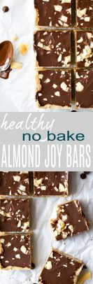 No Bake Almond Joy Bars a healthy dessert filled with coconut and almond butter then topped with chocolate for the ultimate bite. These healthy vegan bars are sure to satisfyyour sweet tooth!