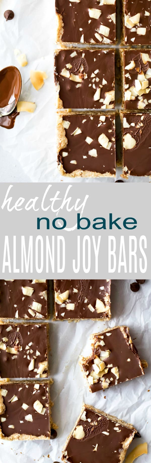 No Bake Almond Joy Bars a healthy dessert filled with coconut and almond butter then topped with chocolate for the ultimate bite. These healthy vegan bars are sure to satisfy your sweet tooth!