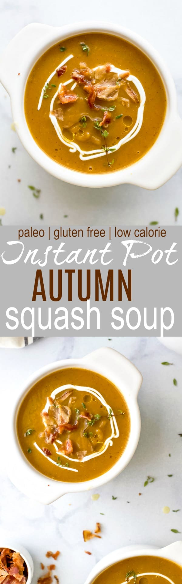 Paleo Instant Pot Autumn Squash Soup, filled with butternut squash, acorn squash, tummy warming spices and topped with bacon. An easy creamy squash soup that's guaranteed to be the star of the fall! #glutenfree