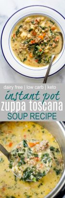 Instant Pot Zuppa Toscana Soup loaded with spicy sausage flavor, bacon, cauliflower and kale. This Zuppa Toscana recipe is low carb, dairy free, paleo and keto! It's an Olive Garden Copycat recipe that's guaranteed to be a hit!