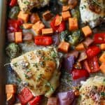 One Pan Honey Mustard Chicken Thighs and Vegetables