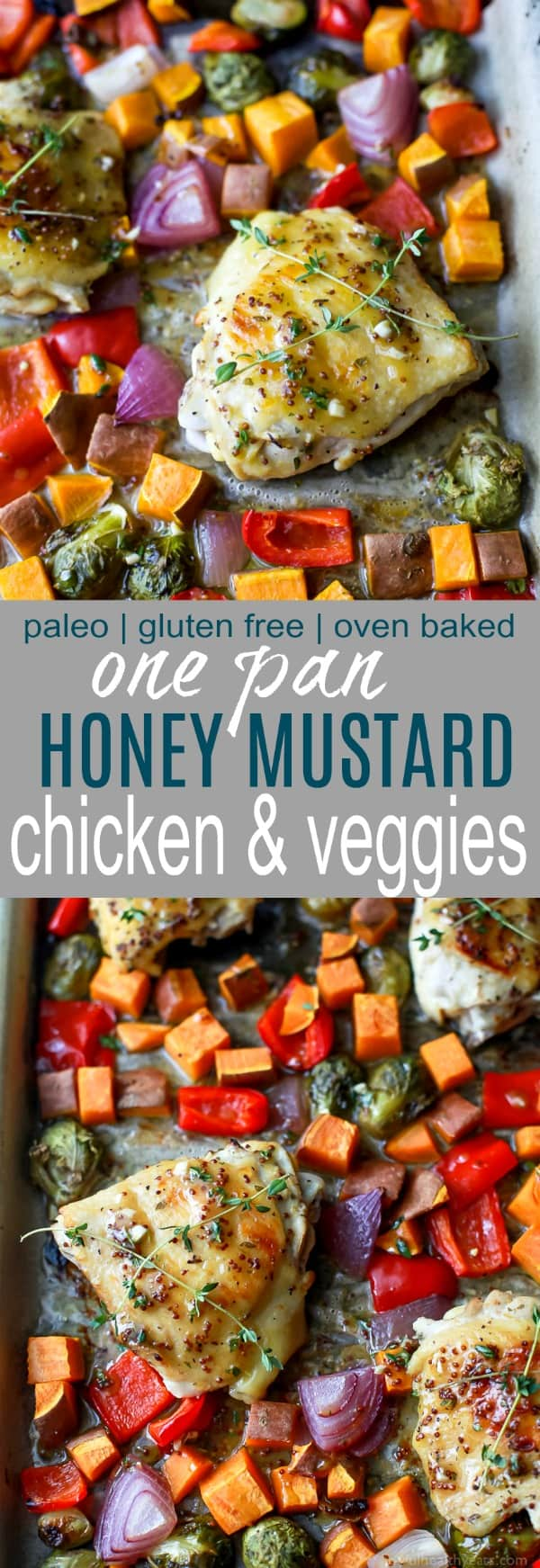 Oven Baked Honey Mustard Chicken Thighs with brussels sprouts and sweet potatoes. This Baked Chicken Thigh recipe is an easy one pan meal perfect for a quick healthy weeknight dinner. #paleo #glutenfree